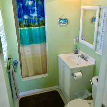 Bathroom with green wall, shower with decorative curtain, sink, toilet