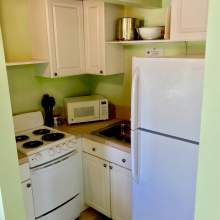 Green kitchenette, white cabinets, small stove, microwave, refrigerator