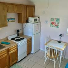Kitchenette with small stove, sink, microwave, refrigerator, two person table