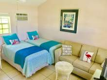 Two twin beds with decorative flamingo pillow, couch with flamingo pillows, wall air conditioning unit