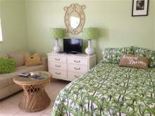 Light Green decor, double bed, dresser with lamps and TV, loveseat