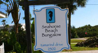 Seahorse Beach Bungalow street sign reading Seahorse Beach Bungalow Tamarind Drive 2502